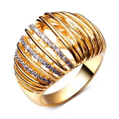 women rings gold color Made with Cubic zirconia luxury rings for women Jewelry #dreamcarnival1989 #CuteRomantic