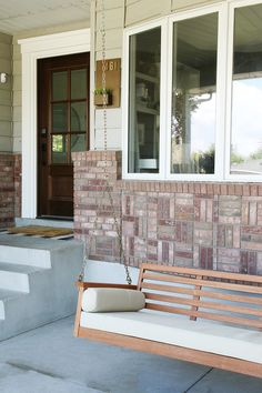 A #DIY #porch upgrade is the perfect #summer project to bring #indoor living to the #outdoors. A classic porch swing creates a welcoming atmosphere with instant #curbappeal.