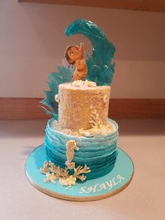 A little Moana inspired cake I donated to a children's hospital. I love working with sugar glass. Moana Party, Moana Birthday Party Theme, Moana Themed Party, 3rd Birthday Parties, Baby Birthday, Moana Birthday Cakes, Moana Theme Cake, Birthday Ideas, Mohana Cake