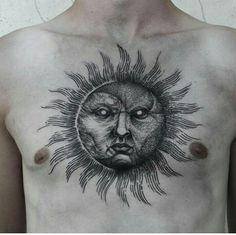 Sun tattoo by robert borbas Black Sun Tattoo, Moon Sun Tattoo, Sun Tattoos, Black Tattoos, Tattoos For Guys, Tatoos, Sun Moon, Chest Tattoo, Arm Tattoo
