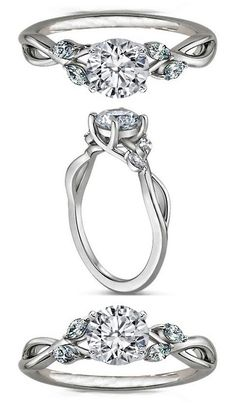 Floral Diamond Engagement Ring Marquise Vine in 14K White Gold -- I think I love this ring so much because it has a Lord of the Rings Elvish look to it. Haha, I'm a geek.