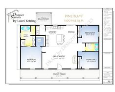 At only 1400 square feet, The Pine Bluff Plan is an economical choice. This 3 bed, 2 bath plan has a full length front porch perfect for relaxing and enjoying your outdoor space. This is a stock plan that can be purchased as-is or it can be modified to fi Pole Barn House Plans, Pole Barn Homes, Small House Plans, House Floor Plans, Rectangle House Plans, 40x60 House Plans, Open Concept House Plans, Barn Homes Floor Plans, Mobile Home Floor Plans