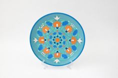 Light turquoise decorative plate Spring Blossom // Blue by LekaArt, $68.00