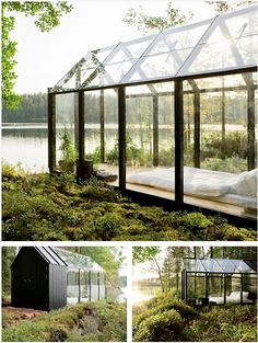 Garden Shed by architect Ville Hara & designer Linda Bergroth. Bergroth's customized version of the prefab greenhouse+shed combo acts as a summer house on a Finnish island. Lago Michigan, How To Feng Shui Your Home, Farnsworth House, Haus Am See, Shed Kits, Natural Home Decor, Interior Exterior, Interior Design, Room Interior