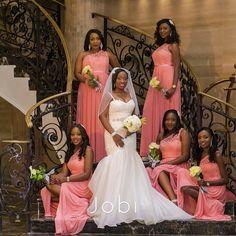 One Shoulder Lace Long Coral Bridesmaid Dresses