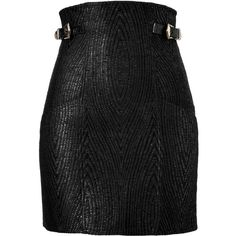 BALMAIN Black High Waisted Mini Skirt, found on #polyvore. #skirts #bottoms