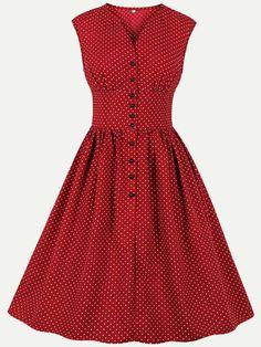 Womens Vintage Rockabilly Dress V Neck Polka Dots Print High Waist Sleeveless Swing Dress - Vinfemass Vintage Style Dresses, 50s Dresses, Dresses Online, Fashion Dresses, Rockabilly Dresses, Red Fashion, Vintage Fashion, Looks Pinterest, Sleeveless Swing Dress