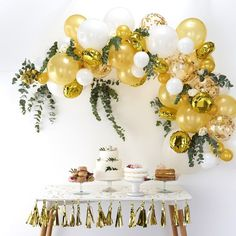 Eanjia Gold Balloons Garland Kit DIY Latex Balloons Confetti Balloons Foil Balloons Combo / Arch Hooks Balloon Tape Glue Dot Beginner Use for Birthday Wedding Party Backdrop Venue Decor (Gold) Round Balloons, Gold Confetti Balloons, White Balloons, Foil Balloons, Latex Balloons, Metallic Balloons, Balloon Arch Diy, Ballon Arch, Balloon Backdrop