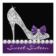 bling birthday party   ... sixteen birthday party invitations this elegant purple black birthday
