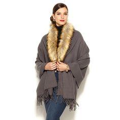 IMAN Platinum Fringe and Faux Fur Dramatic Wrap -