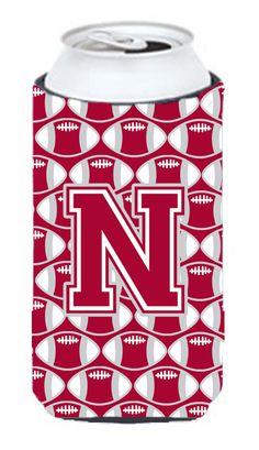 Letter N Football Crimson - grey and white Tall Boy Beverage Insulator Hugger CJ1065-NTBC #artwork #artworks