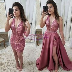 Beautiful Fashion Deep V Neck Lace Detachable Skirt Fancy Prom Dresses Formal Evening Grad Dress Fancy Prom Dresses, Best Formal Dresses, Grad Dresses, Homecoming Dresses, Short Dresses, Party Dresses, Bridesmaid Dresses, Formal Skirt, Occasion Dresses