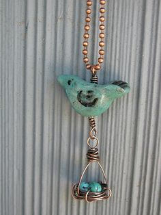 bird with nest necklace -- Fresh-baked Designs