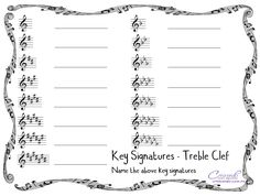 A Free Worksheet to revise key signatures on the treble staff. You could use this as an assessment sheet, or just revision. I hope you enjoy this freebie!