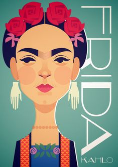 Frida - Stanley Chow Illustration of Manchester England Portrait Illustration, Flat Illustration, Character Illustration, Graphic Design Illustration, Stanley Chow, Anatomy Sculpture, Easy Landscape Paintings, Kahlo Paintings, Frida Art