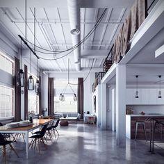 Loft avec sol en béton ciré #design #beton #loft