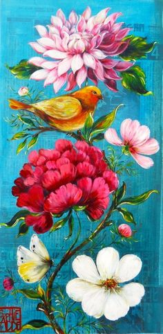 Bright color, like turquoise, yellow and pink, make me happy - it's my favorite color pallet these days. Gravure Illustration, Art Et Illustration, Illustrations, Flower Branch, Flower Art, Art Flowers, Art Floral, Pallet Art, Bird Art