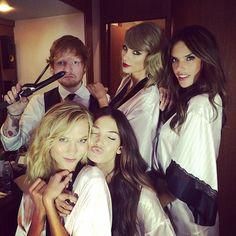 Swift with Ed Sheeran, Alessandra Ambrosio, Karlie Kloss, and Lily Aldridge