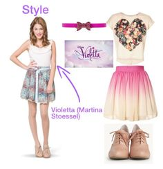 """Disney Channel's Violetta: Dress like Vilu"" by sweetheartlucy ❤ liked on Polyvore featuring Disney, INDIE HAIR, Oscar de la Renta, women's clothing, women, female, woman, misses, juniors and ViolettaDisney"
