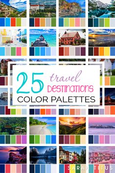 Planning a party, designing a printable, or just want to decorate your home? Get tons of inspiration from these 25 Best Travel Destinations Color Palettes! They're so gorgeous they will take your breath away. Summer Color Palettes, Color Schemes Colour Palettes, Colour Pallette, Summer Colors, Color Trends, Yarn Color Combinations, Color Mixing Chart, Color Harmony, Color Theory