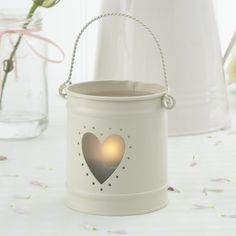 Ivory Heart Metal Bucket candle holder