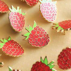 Raspberry Enamel Pin – Shiny Apple Studio