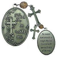 "Pocket prayer medallions are a beautiful way to share your faith with others on their confirmation day. Medallion is plated antique silver and features crystal bead detailing with inscription ""God be with me."" More first communion Catholic gifts at printeryhouse.org. #printeryhouse."