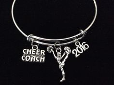 2016 Cheerleader Coach Gift! Double Sided Cheerleader and Cheer Coach Charm securely attached to a Silver Plated Expandable Bracelet. One Size Fits All; Easily and Smoothly Adjustable and Expandable.