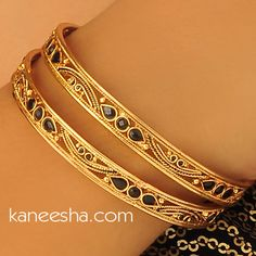 Gold Plated Bangles Pair Accented with Black Beads | Kaneesha