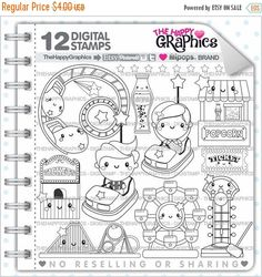 80%OFF - BIG SALE Amusement Park, Stamp, Commercial Use, Digi Stamp, Digital Image, Party Digistamp, Coloring Page, Park Graphic, Printable