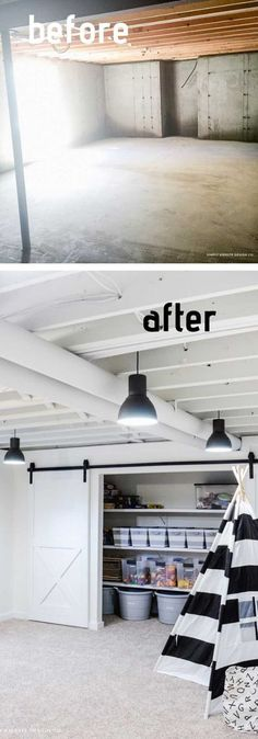 Save money and open up your space by painting your basement ceiling! #basementideas #basementremodel #basementceiling #basement #diy