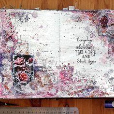 "Elena Martynova: ""Снежные розы""/ Art-journal page Snow Rose Art Journal Pages, Junk Journal, Art Journaling, Bullet Journal, Tag Art, Sketchbook Layout, Sketchbook Ideas, Moleskine, Snow Rose"