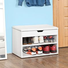 SoBuy Wooden Shoe Cabinet, 2 Tiers Shoe Rack Shoe Storage Bench with Folding Padded Seat, White, Rack Com Puff, Shoe Storage Bench With Cushion, 2 Tier Shoe Rack, Wooden Shoe Cabinet, Shoe Cupboard, Bamboo Shoe Rack, Kallax Regal, White Chests, Upholstered Bench