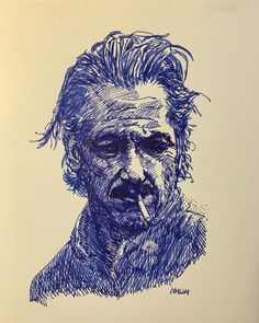 A more attractive actor with a matted look. Fountain pen drawing.