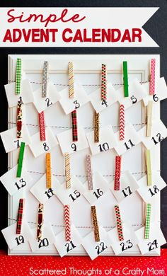 Cut envelopes & card with circuit, put #'s on them I just bought. I have tiny clothes pins, bakers twine & a frame! Easy peasy!
