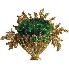Vintage Signed Hattie Carnegie Faux Jade & Rhinestone Flower Basket Brooch/Pin