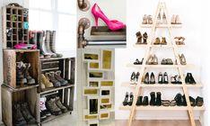 Masser af inspiration til smart skoopbevaring. Hallway Storage, Decorative Storage, Diy Flowers, Shoe Rack, Diy And Crafts, Home And Garden, Inspiration, Closet, Do It Yourself Crafts