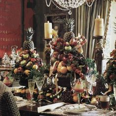 Italian Renaissance style of the sublime centerpiece created by Jim Hartley . A beautiful Christmas or even fall centerpieces, maybe w/ a few more flowers?