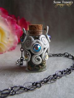 Apothecary Mini Glass Bottle Necklace Faerie by SpinningCastle