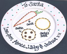Santa plate - this is such a cute idea! - Crafts For Us Xmas Eve Boxes, Christmas Eve Box, Christmas Plates, Handmade Christmas, Christmas Holidays, Christmas Decorations, Christmas Ideas, Woodland Christmas, Christmas Baubles