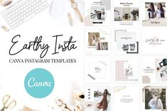 Canva Instagram Templates Earthy by SwitzerShop on @creativemarket Canva Instagram, Instagram Design, Instagram Templates, Instagram Accounts, Instagram Story, Instagram Feed, Image Font, Photoshop Elements, Journal Cards