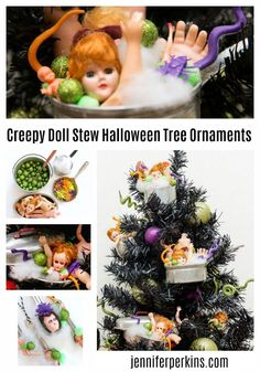 Doll part ornaments for a Black Halloween tree by Jennifer Perkins