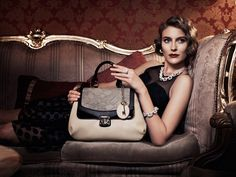 Oohlala Campaign - Shot by Tony Notaberardino, styled by Sarah Bonett, hair & make-up by Vic Baron, and starring Ellie Ross. Hair Makeup, Shoulder Bag, Baron, Ol, Designer Handbags, Lace, Clutches, Campaign, Handle