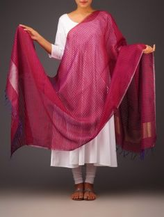 Red - Purple Striped Silk Dupatta