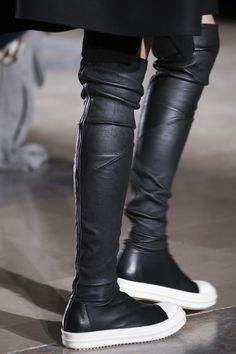 THIGH HIGH SNEAKER BOOTS #RickOwensHighboots #Runway #FashionweekFall2014