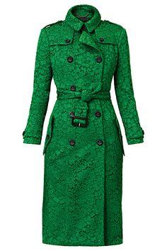 Burberry Emerald Green Kick Pleat Trench Coat