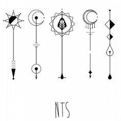 Elementos Ideas for wand designs or garden stakes. Geometric Designs, Henna Designs, Tattoo Designs, Mini Tattoos, Small Tattoos, Finger Tattoos, Body Art Tattoos, Schrift Design, Unalome Tattoo