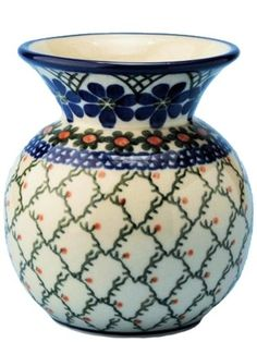New Polish Pottery BUBBLE VASE Boleslawiec CA Pattern 854a European Stoneware Polish Pottery