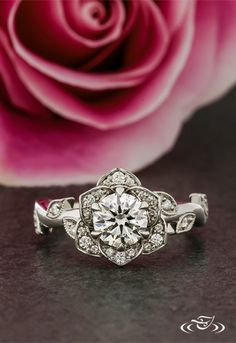 Our new favorite ring: Hand carved floral diamond halo in platinum. #Halo #Twist #GreenLakeJewelry