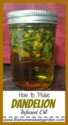 Natural Remedies How to Make Dandelion Infused Oil - Learn how to make Dandelion Infused Oil. Dandelion oil is a wonderful addition to your natural lifestyle. Use this oil to repair and nourish your skin. Natural Health Remedies, Natural Cures, Natural Healing, Herbal Remedies, Natural Beauty, Cold Remedies, Natural Treatments, Natural Foods, Natural Products